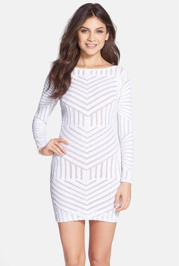 white full sleeve bodycon dress