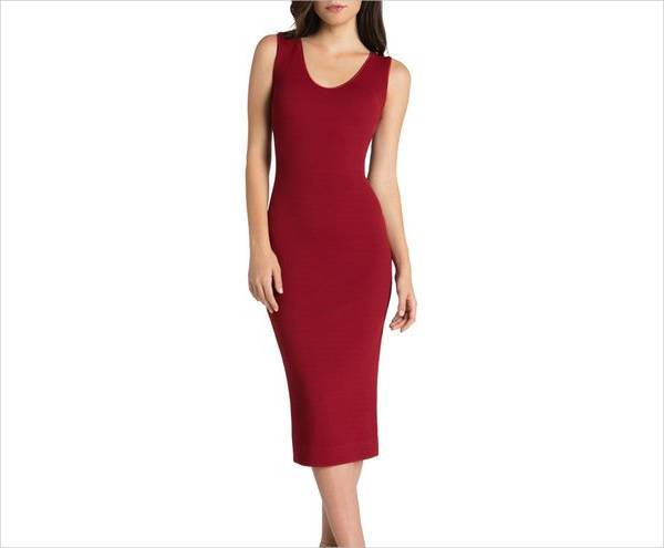 red stretchable bodycon dress