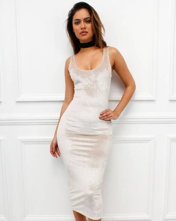 cream velvet bodycon dress