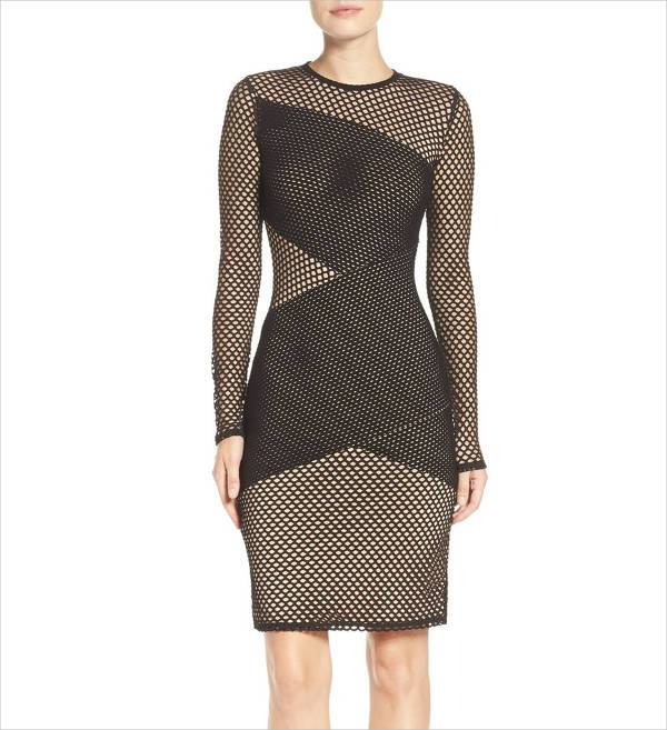 asymmetrical mesh bodycon dress