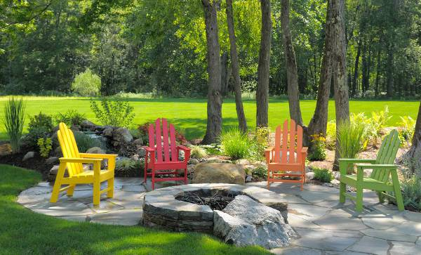 colorful wooden patio chairs