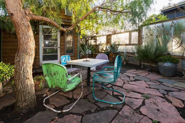 colorful vintage patio chairs idea