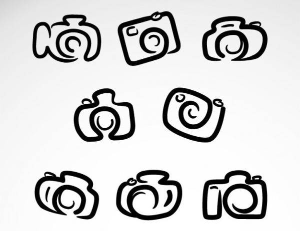 Hand Drawn Camera Logo Vector