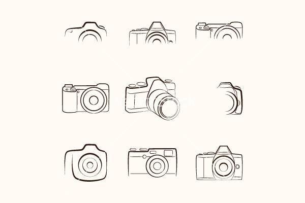 retro camera outline vector