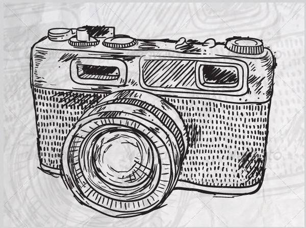 vintage camera doodle vector