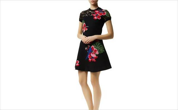 valentino tropical intarsia skater dress