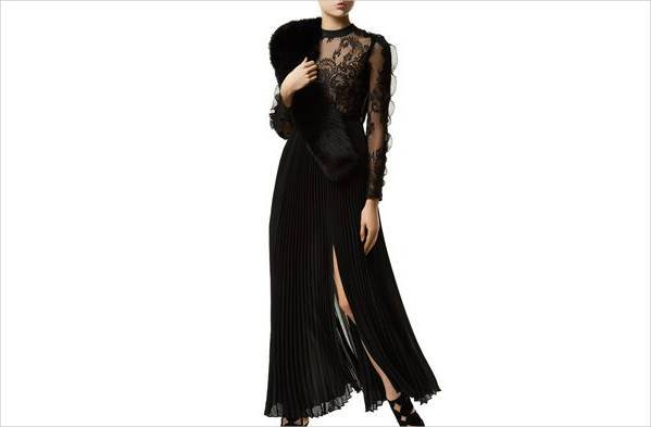 self portrait moni lace pleated gown