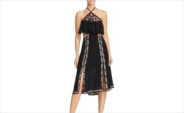 rahicali poppy embroidered halter dress