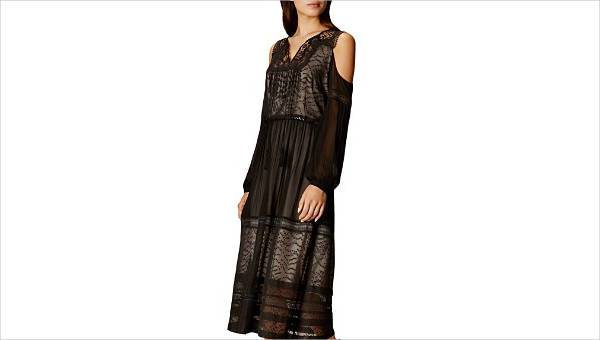 karen millen mesh and lace cold shoulder dress