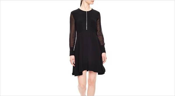 sandro rosie sheer sleeve dress