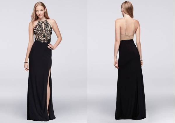open back long dress with heavily beaded bodice