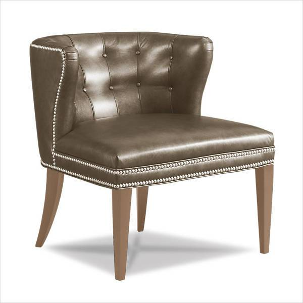 button tufted leather chair