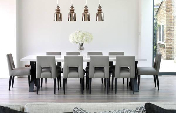 dining room grey leather chairs