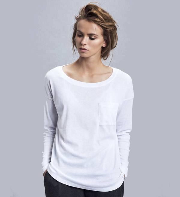 white long sleeve pocket t shirt