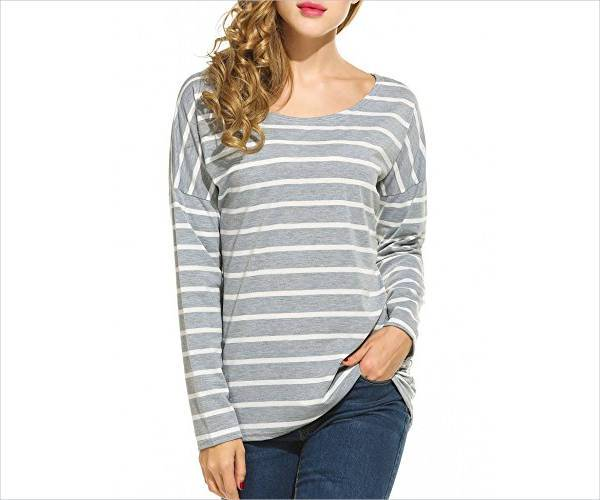 round neck striped long sleeve t shirt