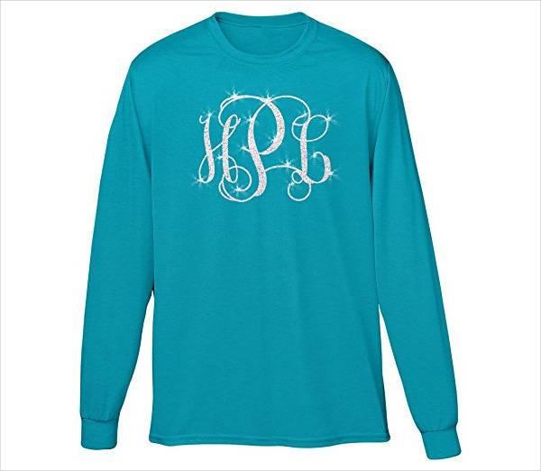 glitter monogram long sleeve t shirt