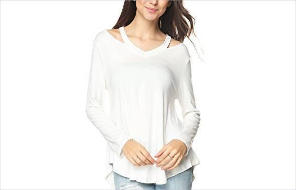 v neck long sleeve white t shirt