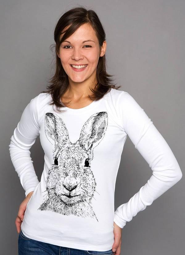 rabbit print long sleeve white t shirt