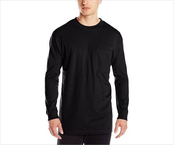 black long sleeve pocket t shirt