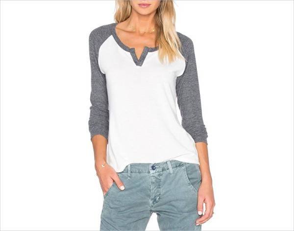 grey and white long sleeve v neck t shirt