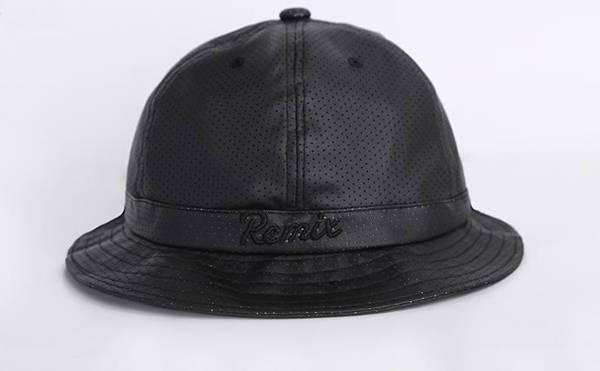 black leather bucket hat