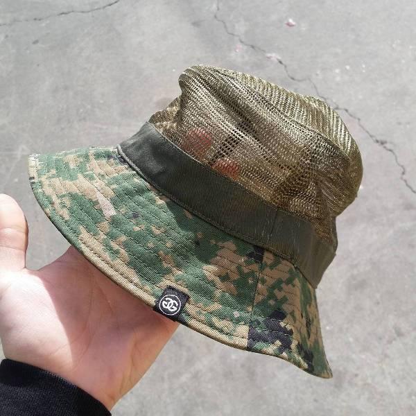 camo mesh bucket hat