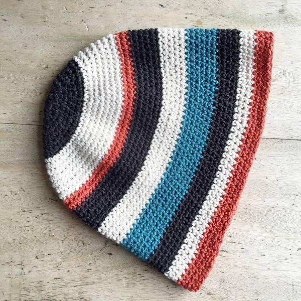 crochet striped bucket hat