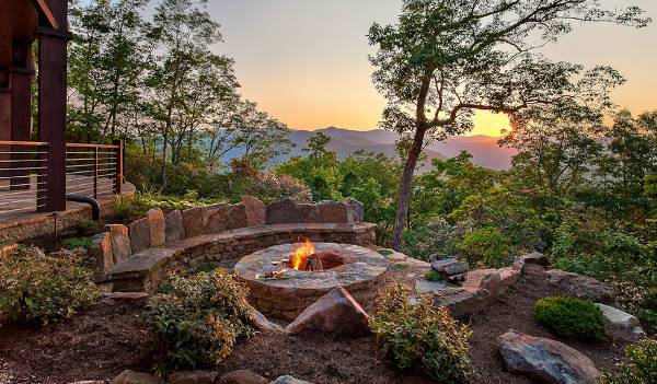 outdoor stone firepit bench
