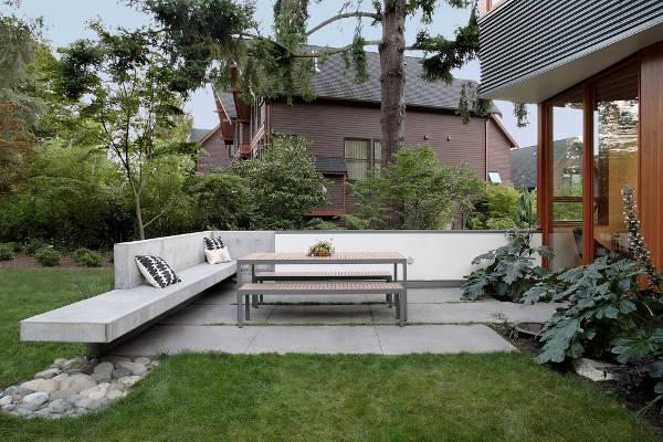 modern outdoor concrete bench
