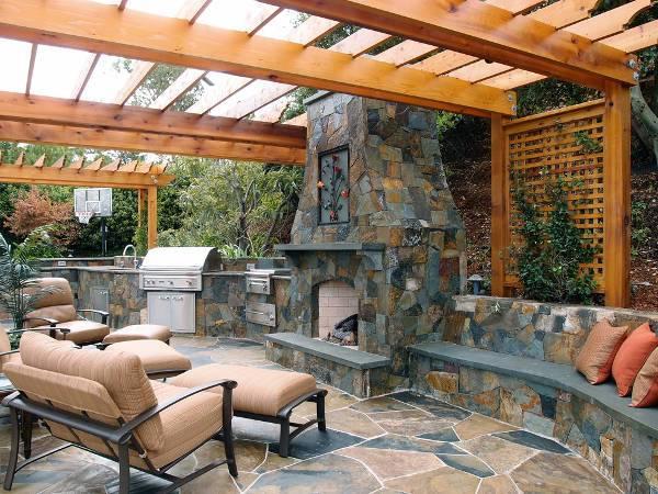 outdoor kitchen stone bench