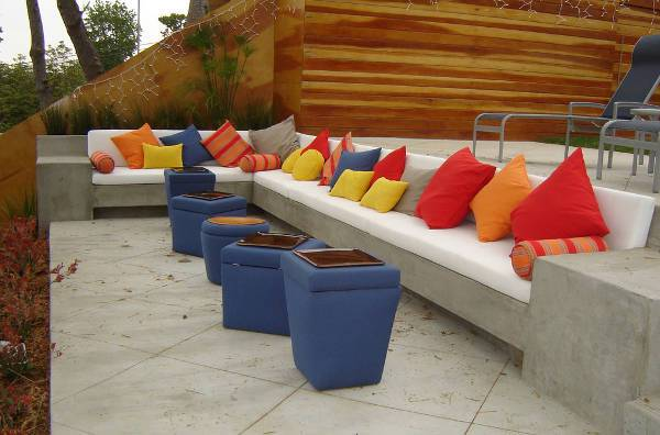contemporary outdoor concrete bench