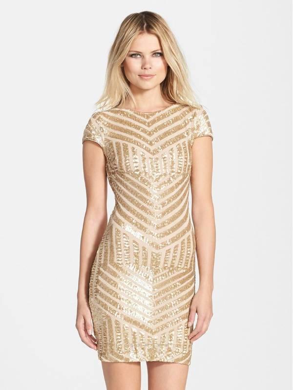 short sequin gold dress design
