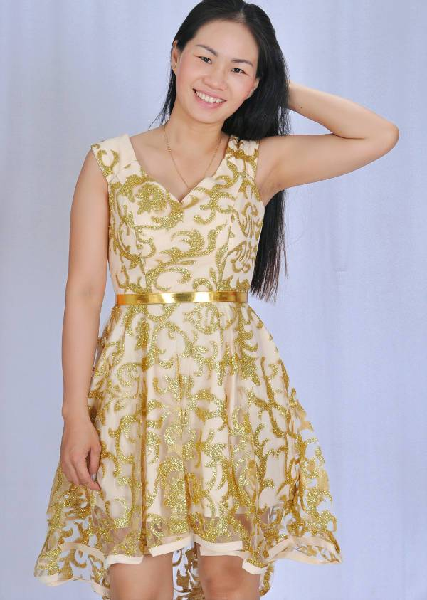 short gold shimmering dress