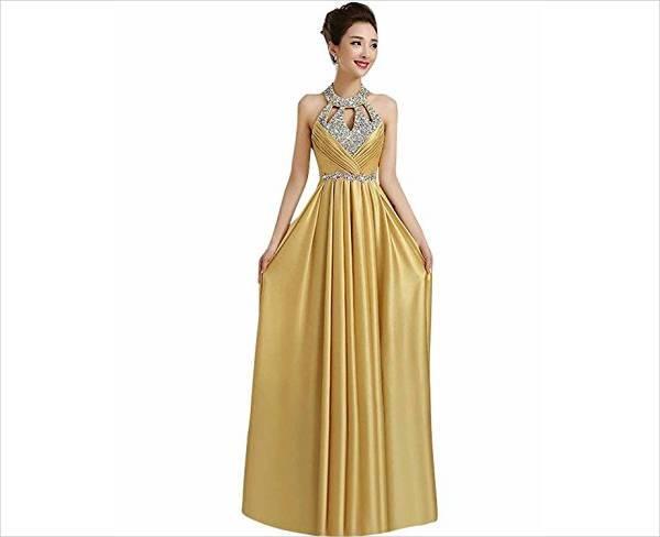 beautiful gold prom dress