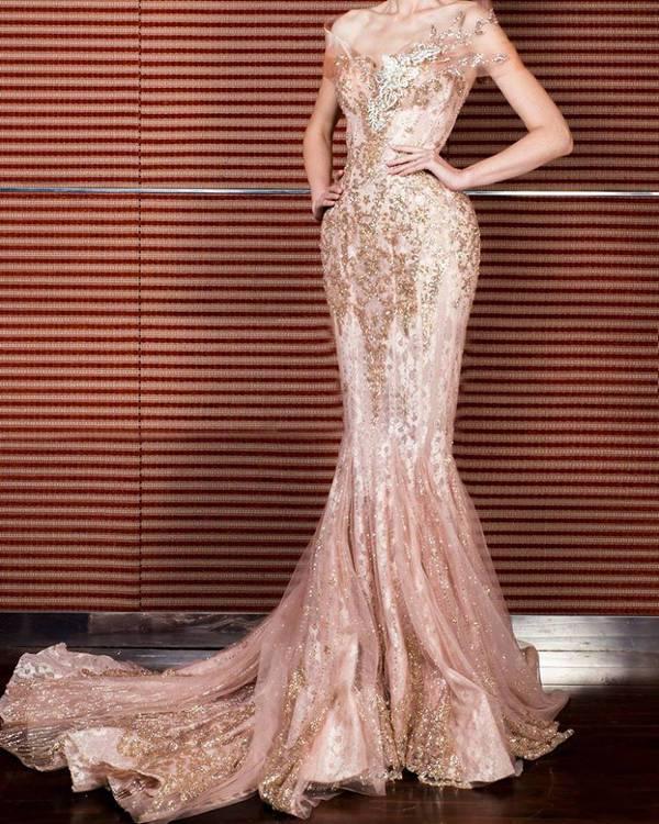long length rose gold dress