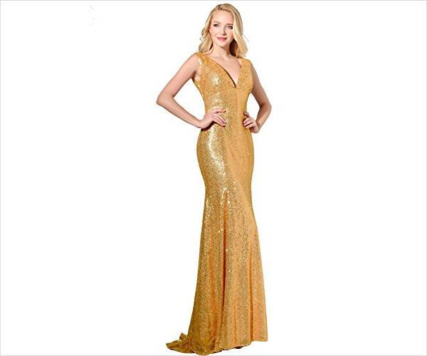 Long Gold Evening Dress