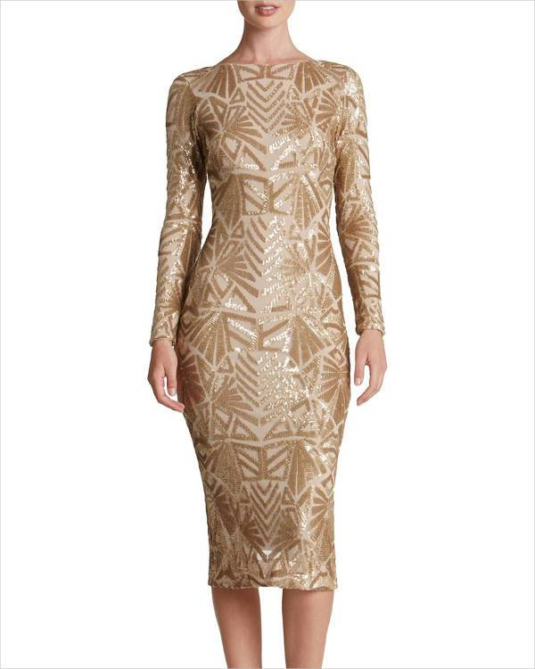 Gold Sequin Midi Dress Design