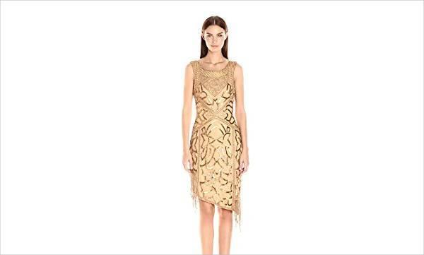vintage gold beaded dress
