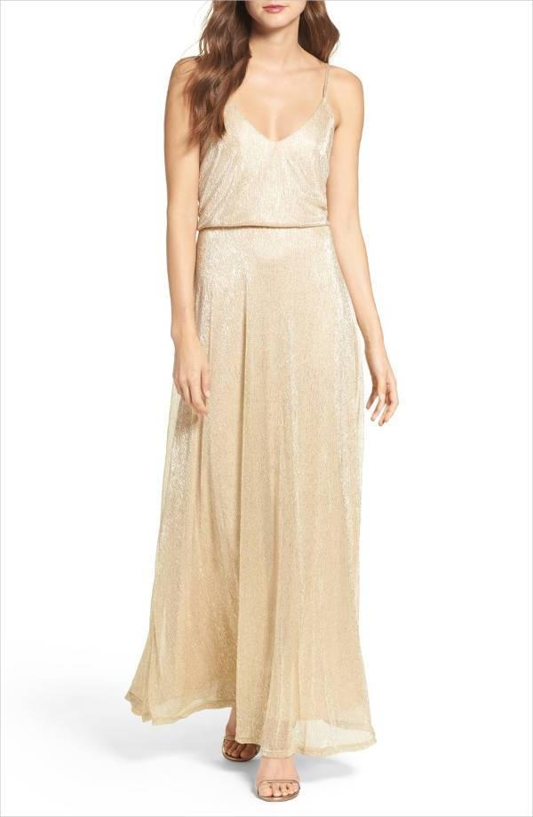 simple gold bridesmaid dress