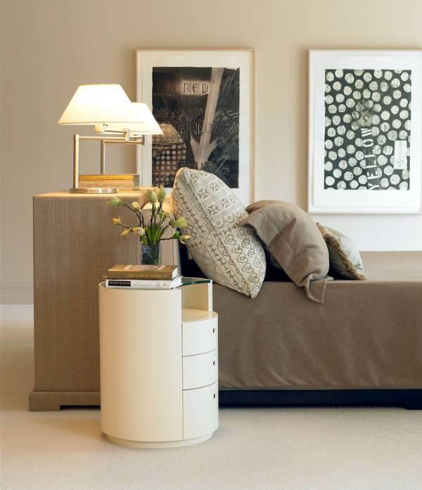 modern round mirrored nightstand