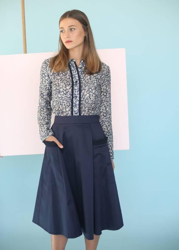 a line blue midi skirt