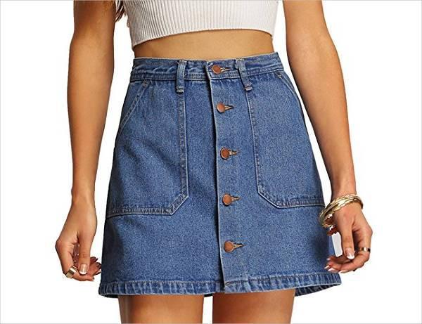 a line short denim skirt