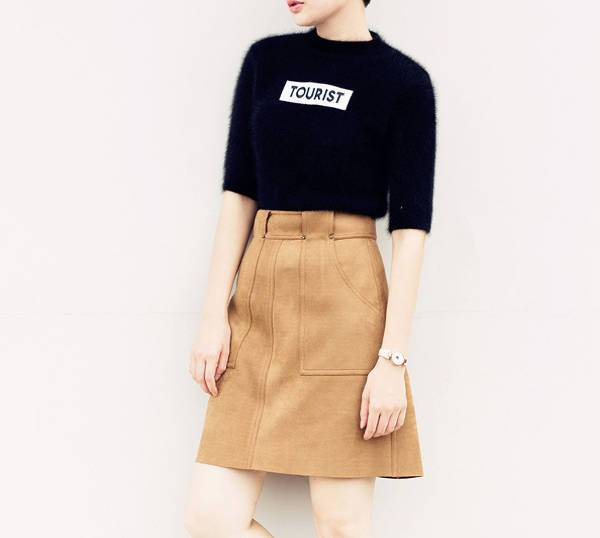a line light brown leather skirt1