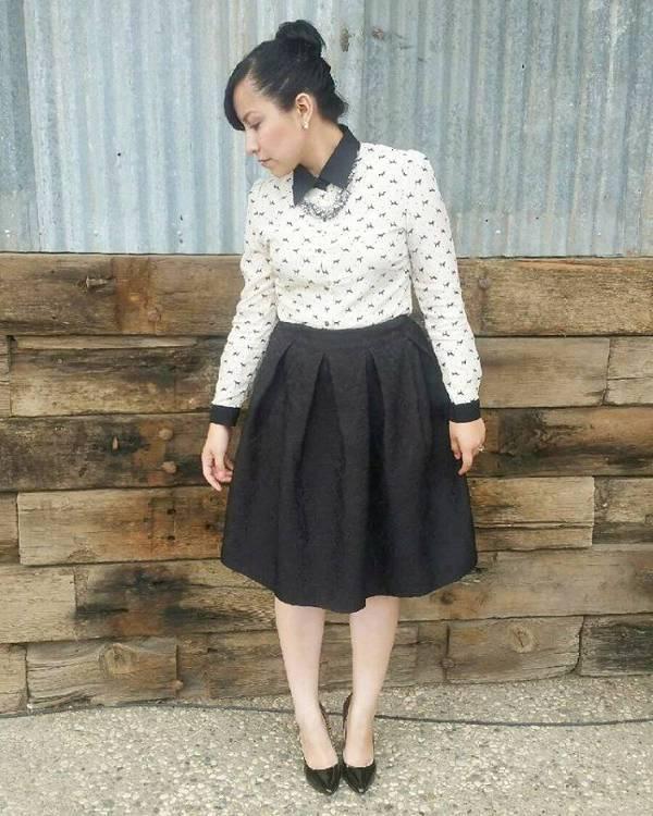 vintage black a line skirt
