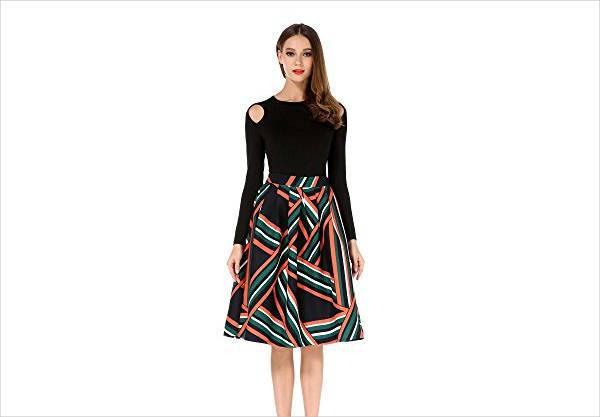 high waisted a line midi skirt