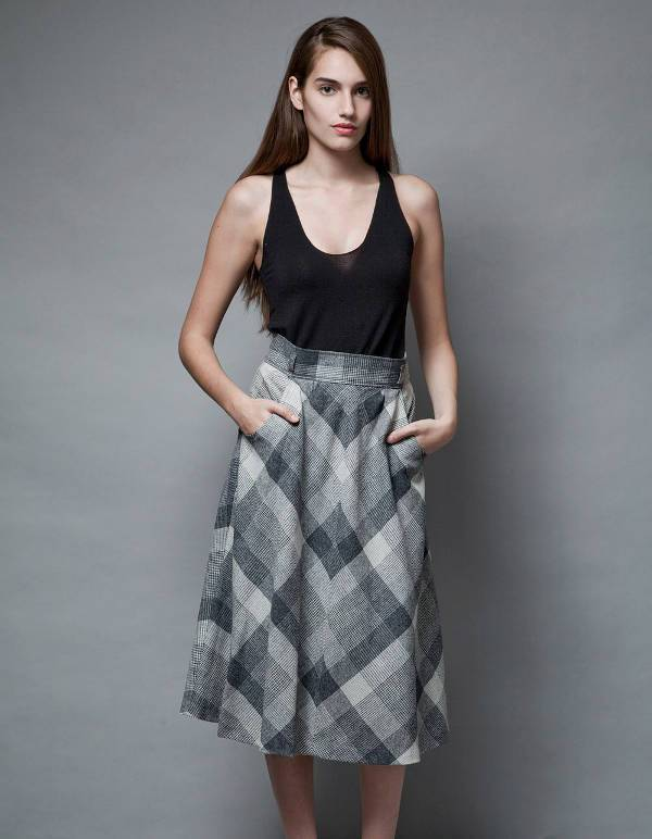 grey and white plaid a line skirt