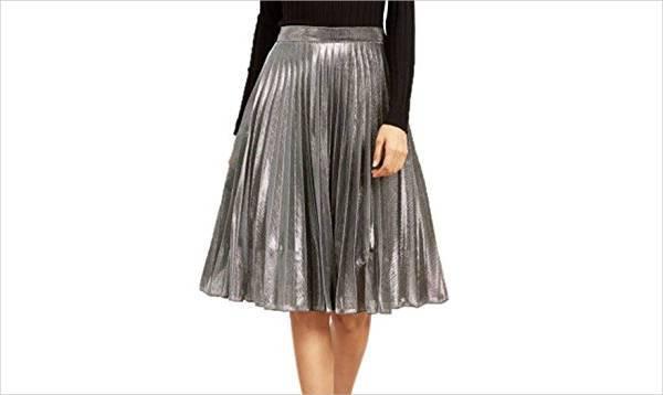 high waist pleated a line skirt