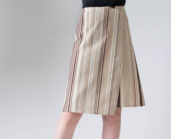retro striped a line skirt