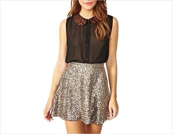 sequin short a line skirt