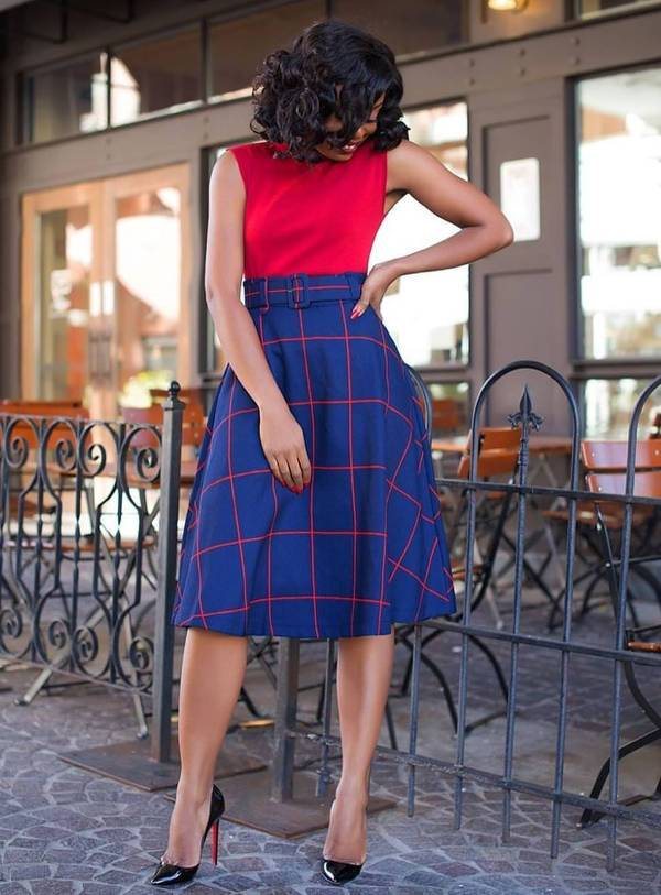 casual checked a line skirt